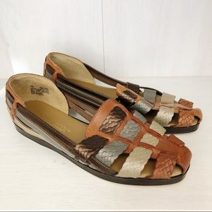 Cabin Creek | Brown Woven Braid Leather Sandals 7